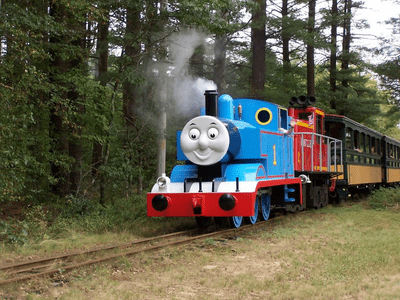 Thomas the Tank Engine ride through a forested area