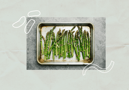 Tray of asparagus.