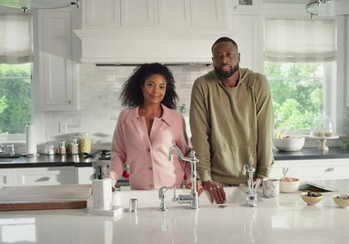 Gabrielle Union and Dwayne Wade in their kitchen