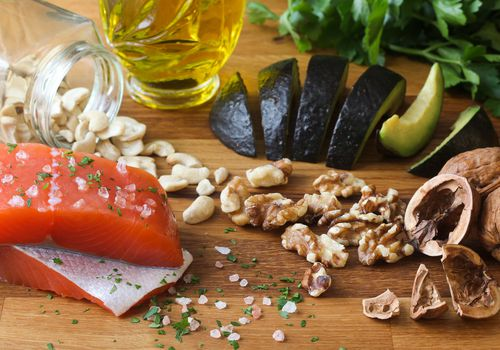 Salmon, avocado, and walnut