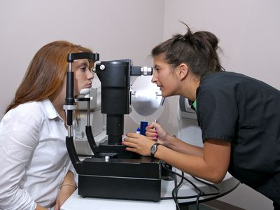 Woman getting a glaucoma test