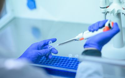 Researchers in a lab conducting pharmaceutical testing