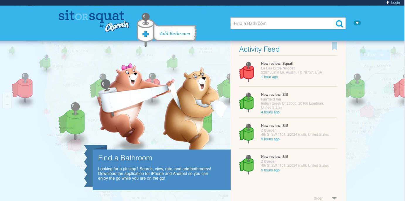 The Bathroom Finder From Sit Or Squat Helps Users Find Bathrooms That Are Available For Sitting Squatting Image Charmin