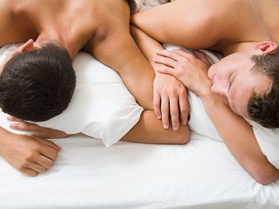 Gay couple sleeping
