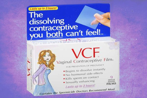 Vaginal Contraceptive Film (VCF) product on purple background