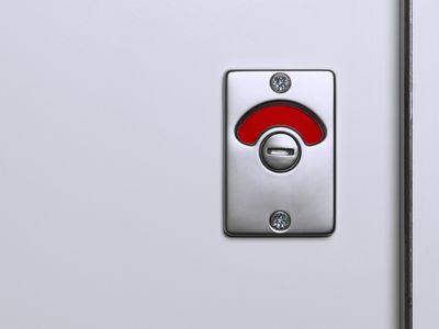 'Engaged' lock on cubicle door