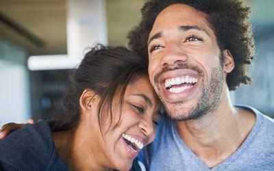 Happy couple having a laugh