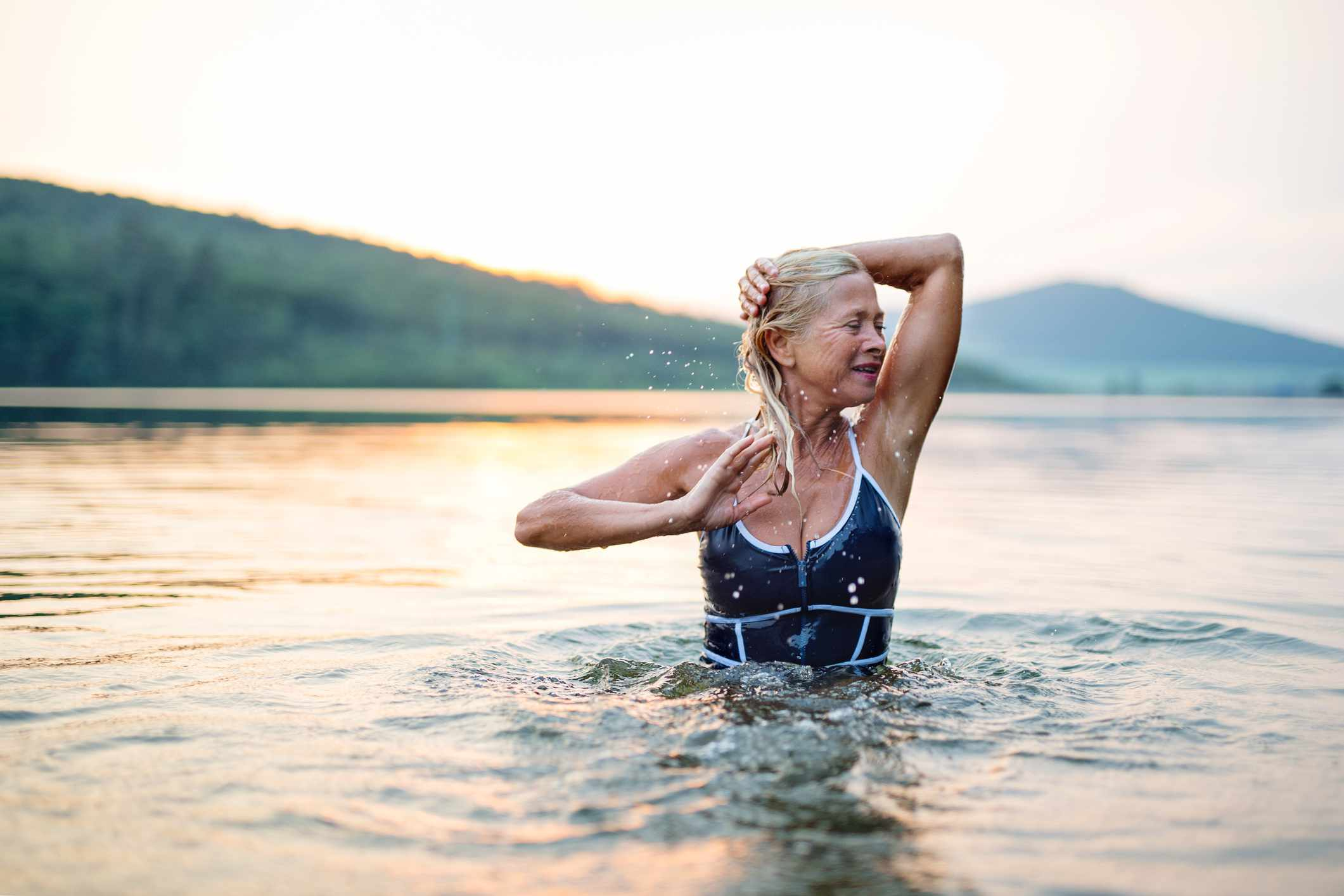 woman exercising in the water