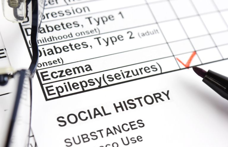 medical form with epilepsy seizures box checked