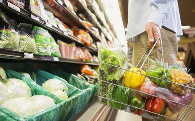 Basket of vegetables in grocery basket