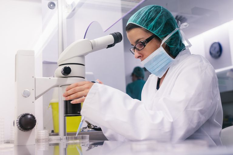 Woman doing medical research in lab