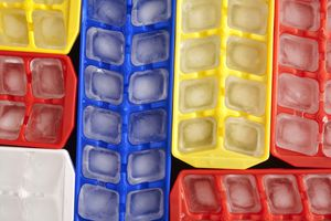 Ice cubes in colorful trays