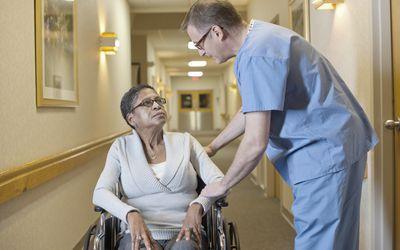 Elderly patient with nurse.