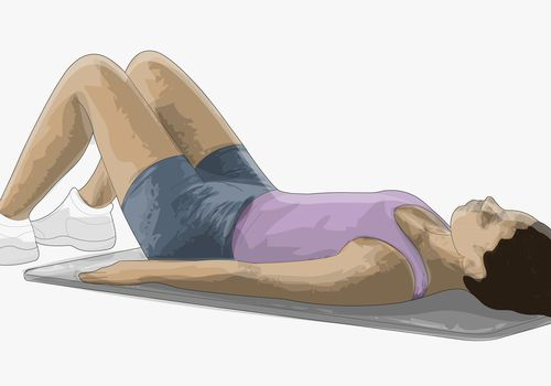 Illustration of a woman laying on a yoga mat