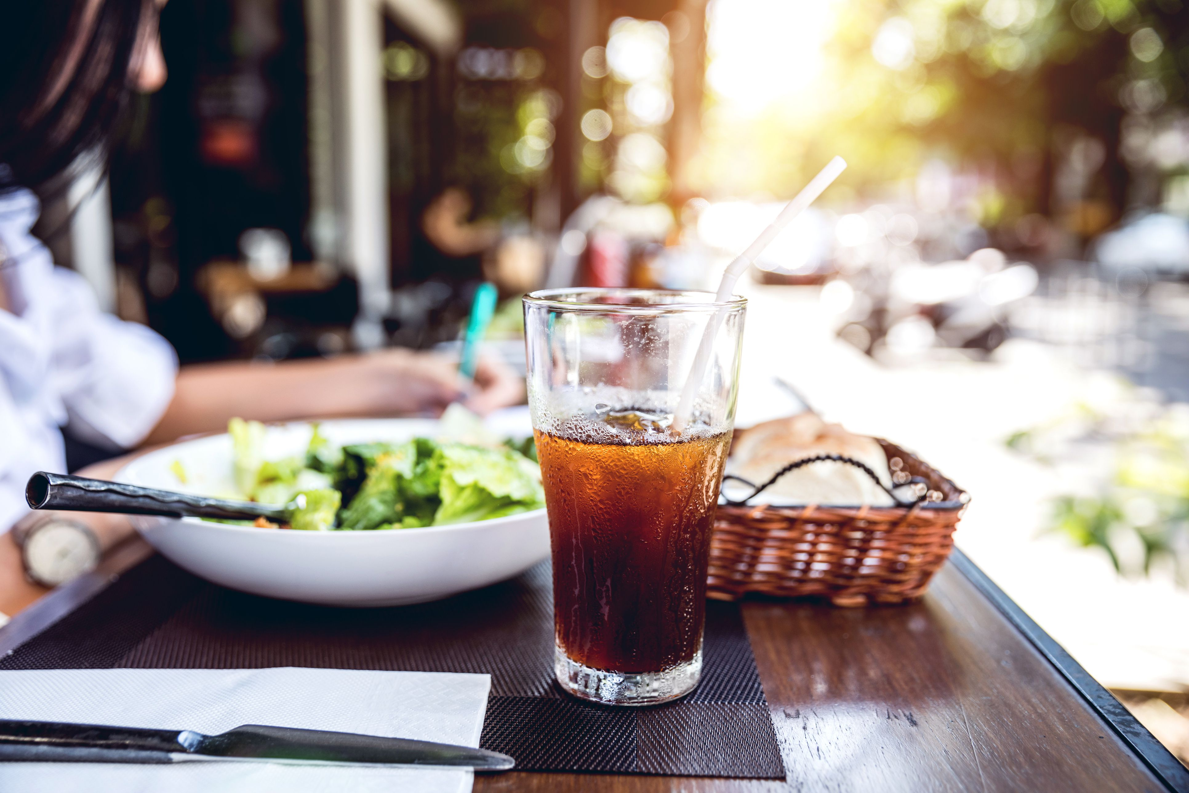 Restaurant table with a soda drink