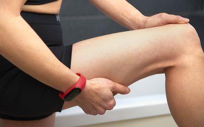 Closeup of woman's leg while exercising