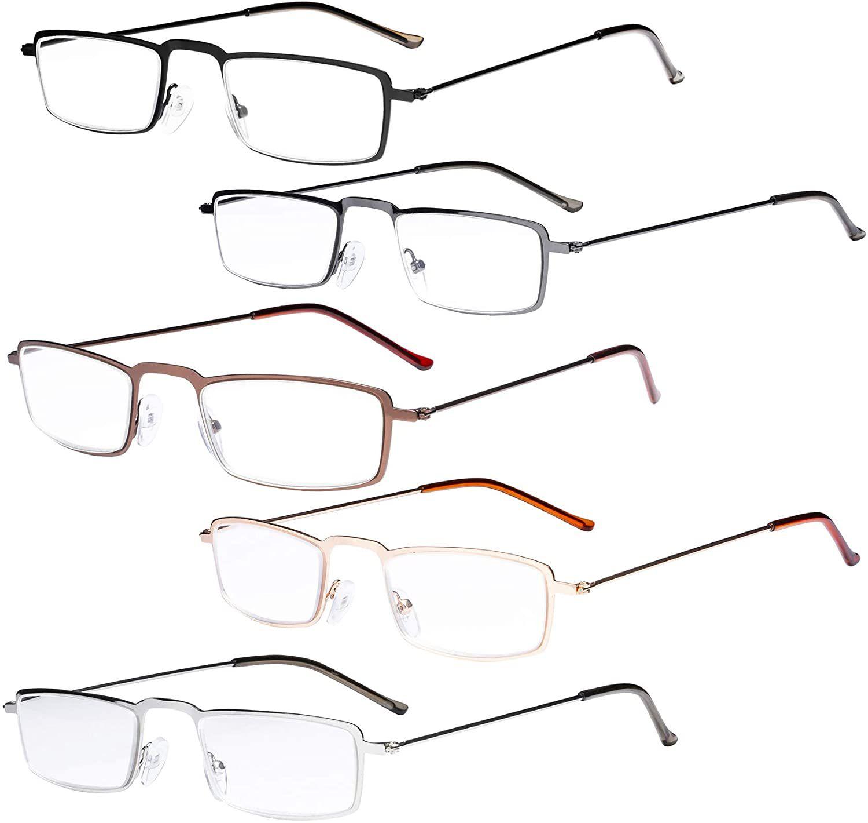 Eyekepper 5-Pack Straight Thin Stamped Metal Frame Half-Eye Style Reading Glasses