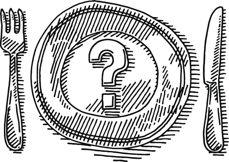 knife, fork and plate with question mark illustration