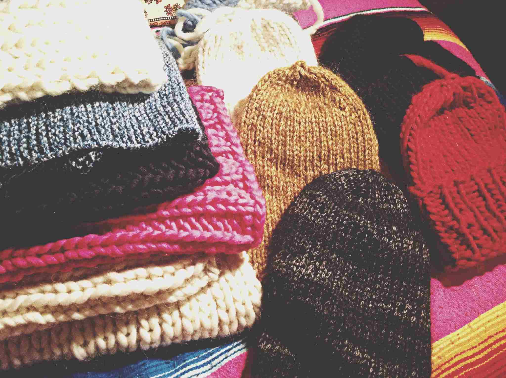 Stack of knit hats
