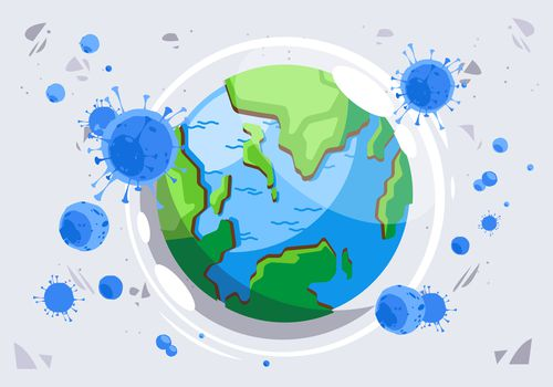 Illustration of COVID virus particles in front of a world globe.