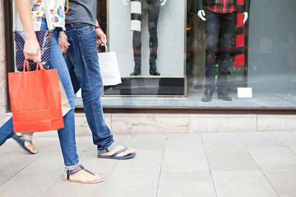 Couple walking and shopping