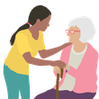 A young woman helping an older woman