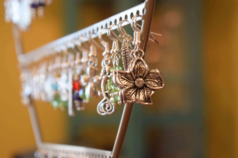 Earrings hanging on a display
