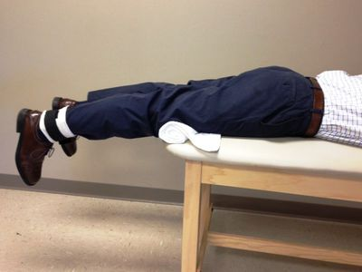 Use prone hanging to increase knee extension range of motion.
