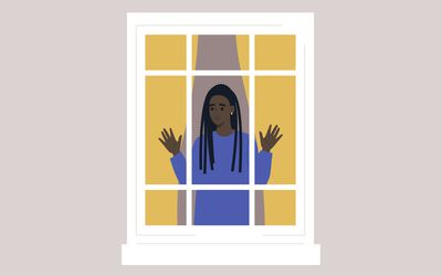 An illustration of a Black woman standing in a window.