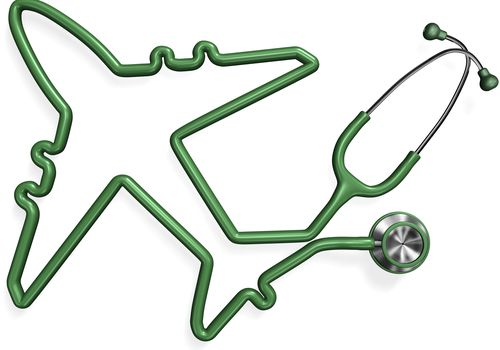 Illustration of a stethoscope with the cord shaped into an airplane