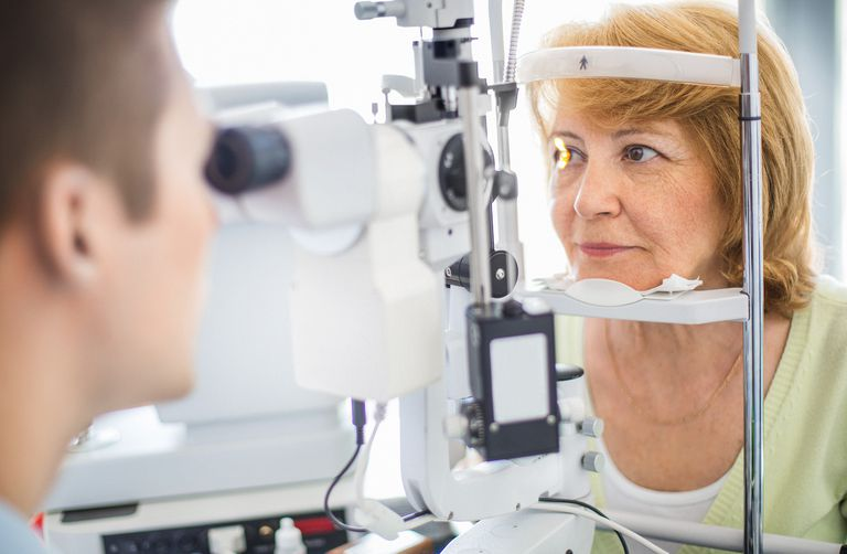 woman having eye exam