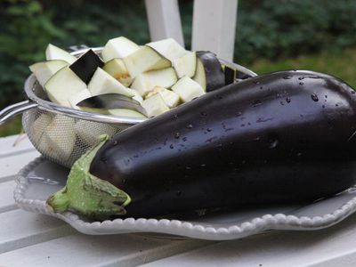 Close-Up Of Eggplant In Plate On Table