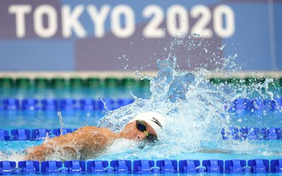 Robert Finke of Team United States competes in heat four of the Men's 800m Freestyle on day four of the Tokyo 2020 Olympic Games