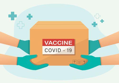 Illustration of a COVID-19 vaccine shipment.