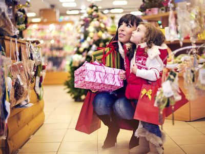 Mom and child holiday shopping