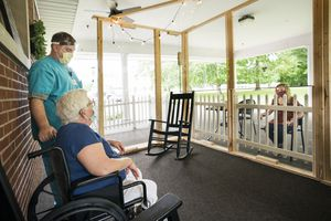 socially distant nursing home visit