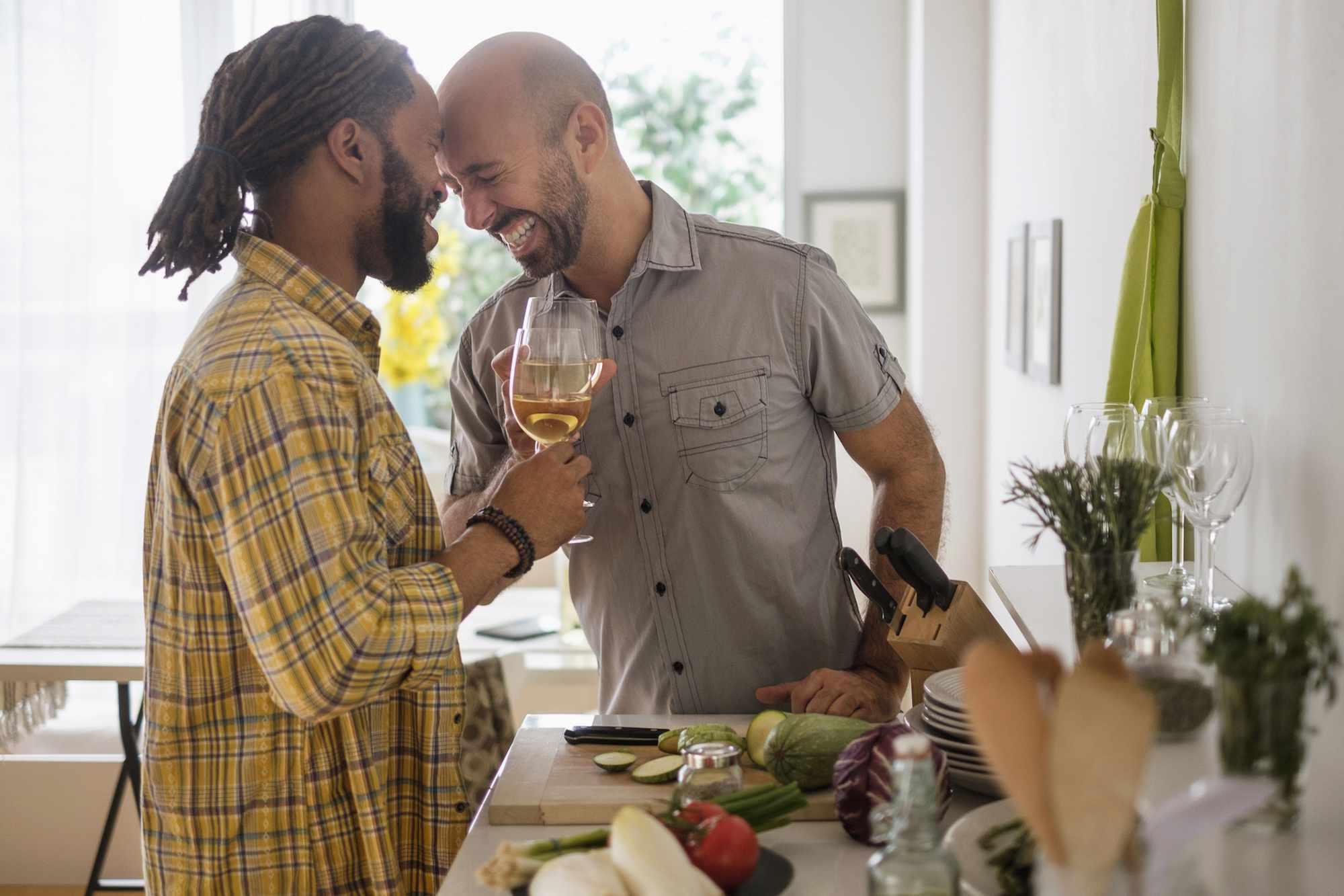Two men in their kitchen