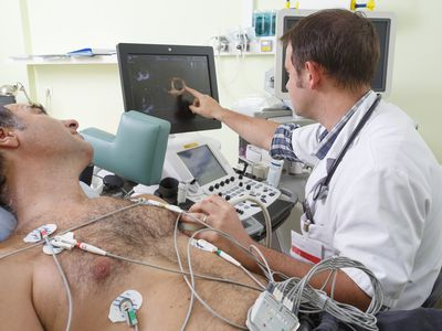 Clinical research at GHICL, Lille, France. Cardiology department. Cardiac stress test performed under scan and ECG (electrocardiogram) control.