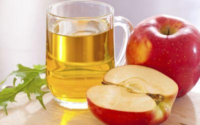 Apple cider vinegar with apples