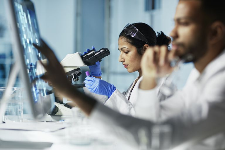 Researchers working in a lap, looking through a microscope and working on a computer