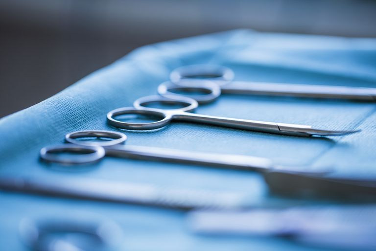 surgical tools for a vasectomy on a tray