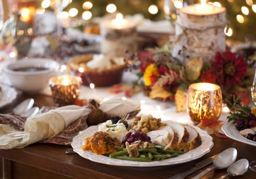 Table laid with Thanksgiving dinner
