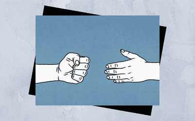 Illustration of a closed fist and an open hand.