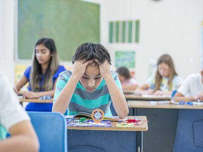 Child looks overwhelmed at school