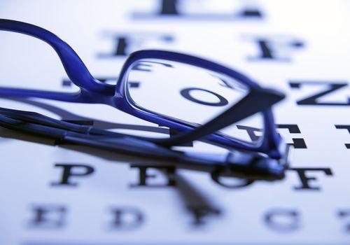 Eye glasses on an eye chart.