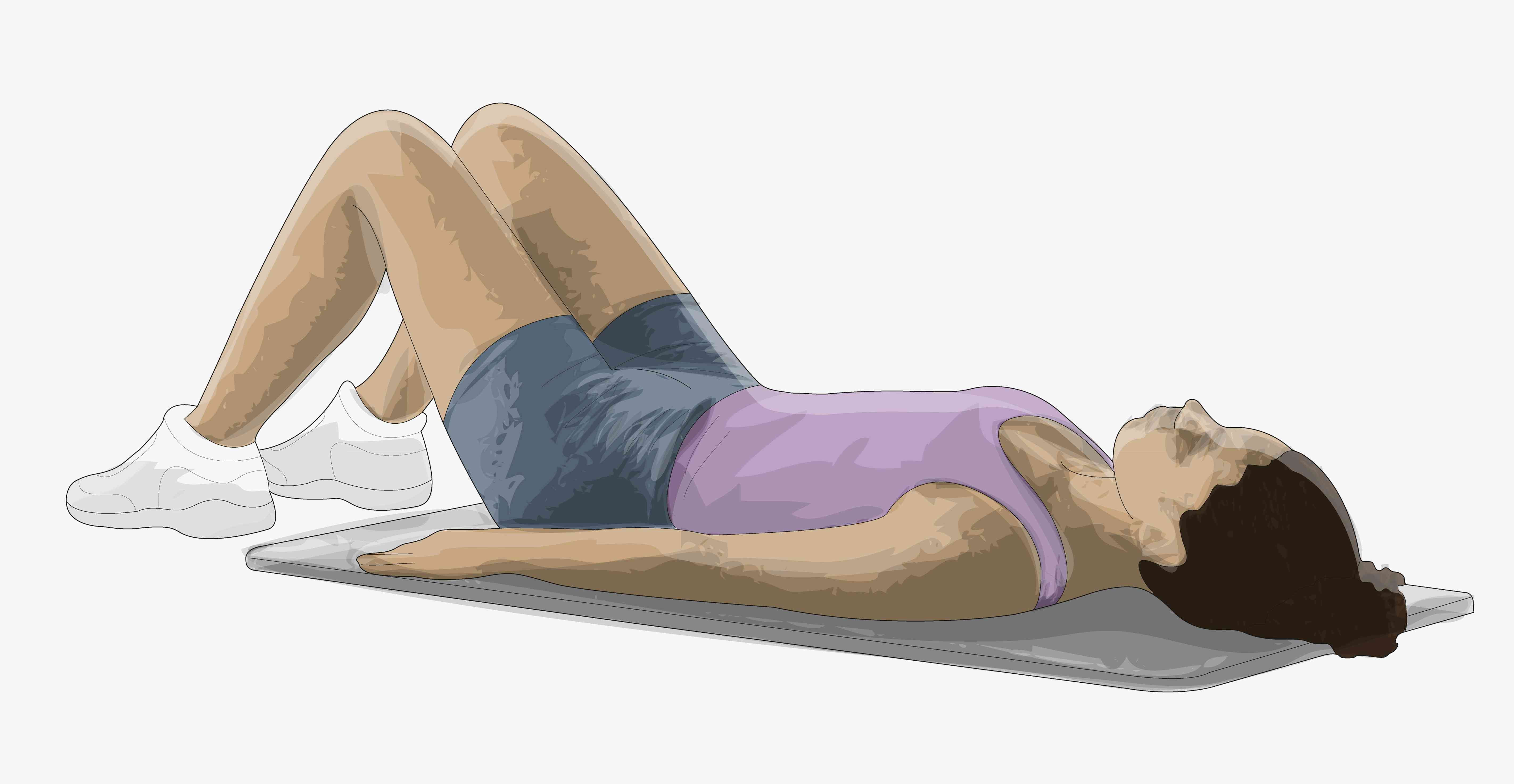 Illustration of a woman performing a starting exercise position laying on her back with knees bent upward