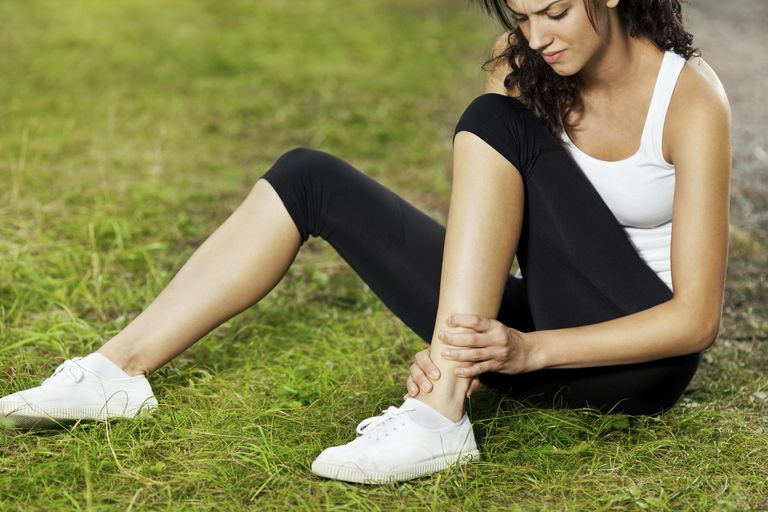 woman attending to an ankle Injury