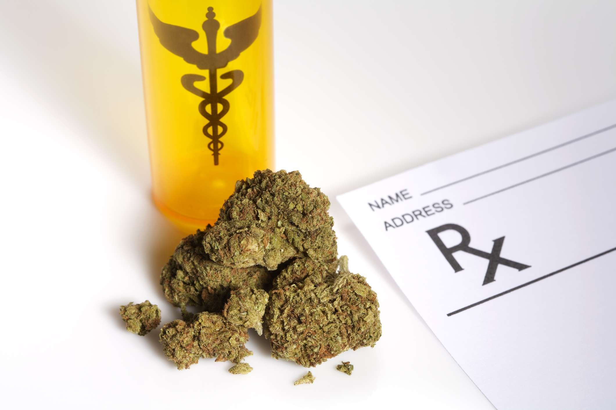 Medical marijuana on a white surface
