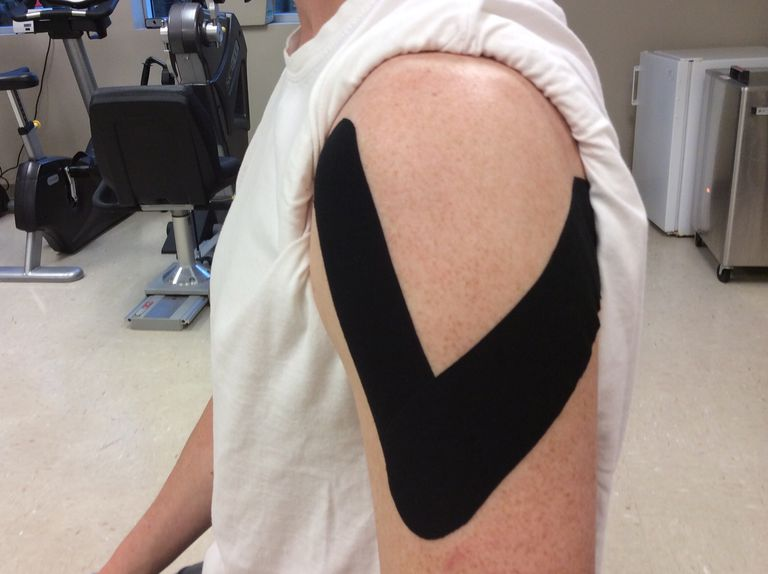 You can use kinesiology tape to support your rotator cuff and shoulder.