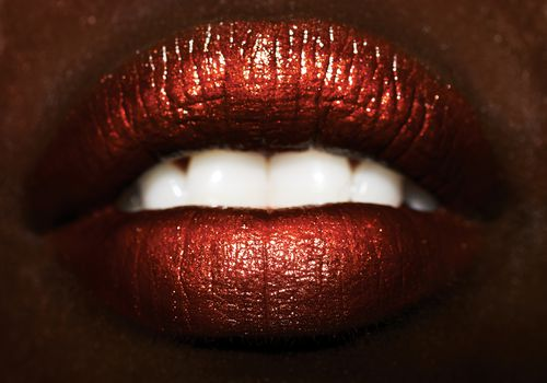 Close up of woman's red lips